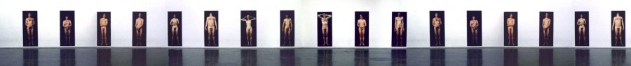 11 life size panels of nudes facing you.
