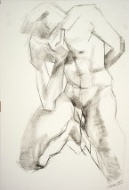 Drawing of a male nude sitting on his knees