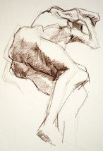 Drawing of a male nude lying on his side with bended leg