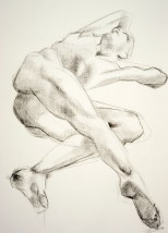 Drawing of a male nude lying on his side and twisting