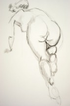 Drawing of a female nude in starting (to run) postion