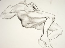 Figure drawing of a male nude lying on his back