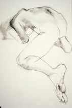 Drawing of a female nude crawling away