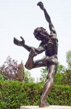 Bronze sculpture of a dionysian male nude